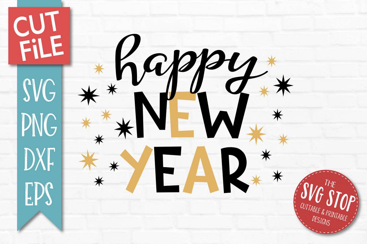 Happy New Year SVG, PNG, DXF, EPS example image 1