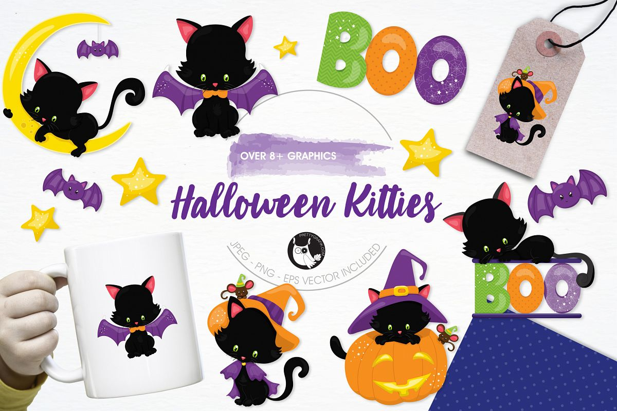 Halloween Kittens graphics and illustrations example image 1