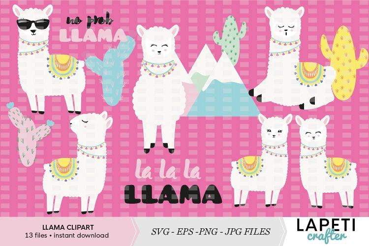 Adorable Llamas vector clipart and illustrations collection example image 1