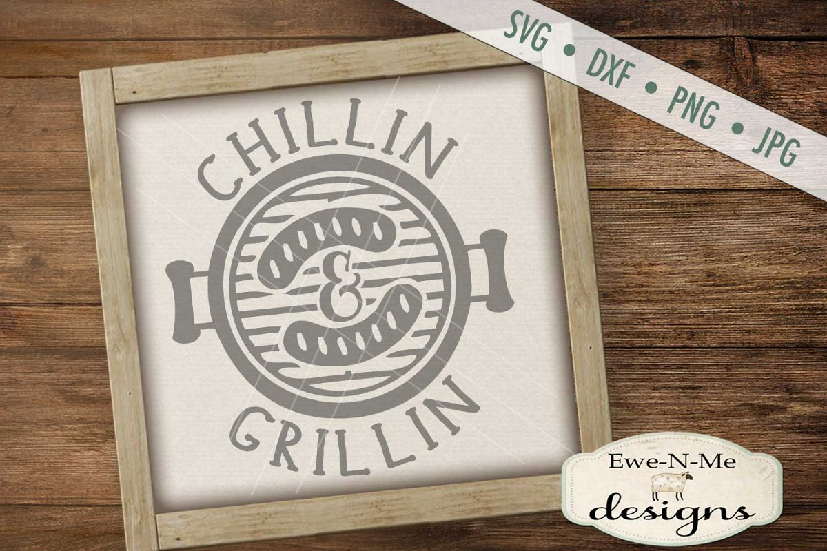 Chillin Grillin Father's Day SVG DXF Cut File example image 1