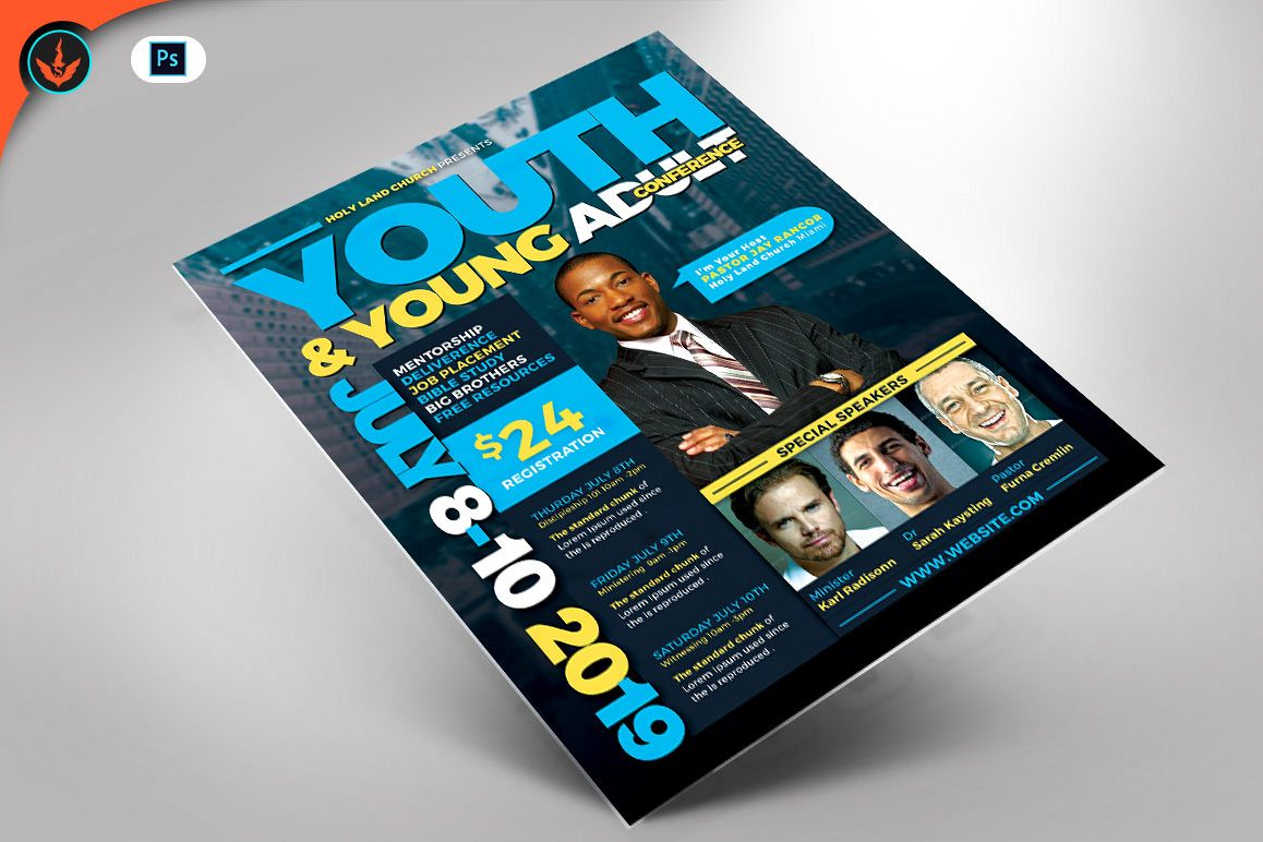 Youth & Young Adult Conference Flyer Template example image 1