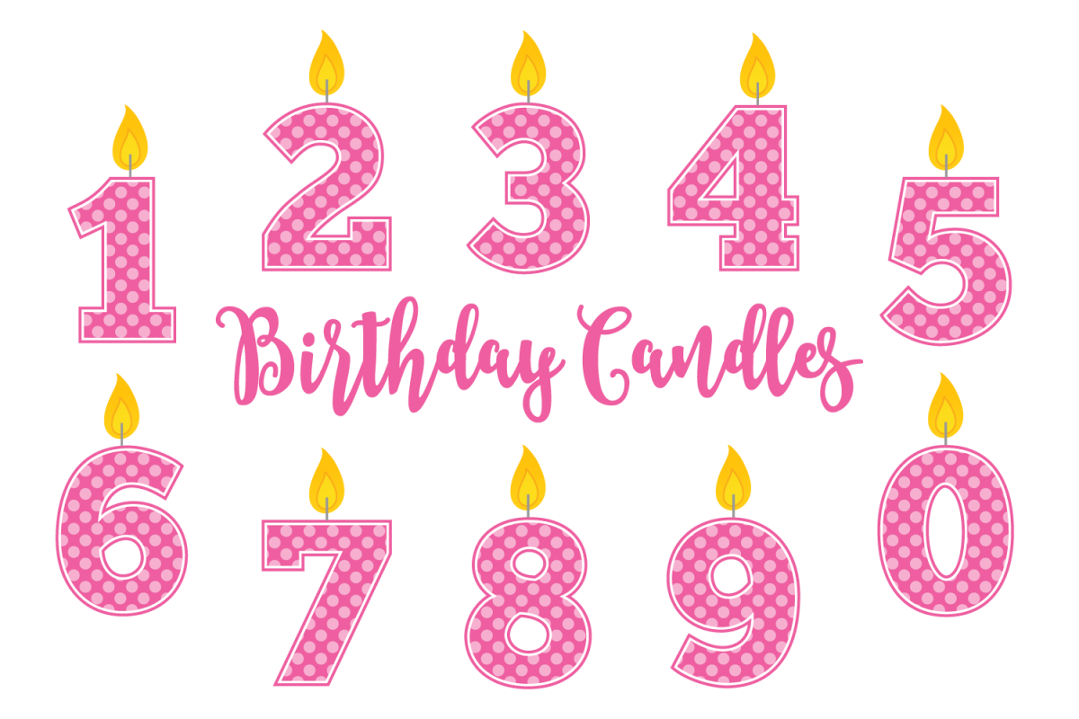 Birthday Candle Clip Art Set Girls Example Image 1