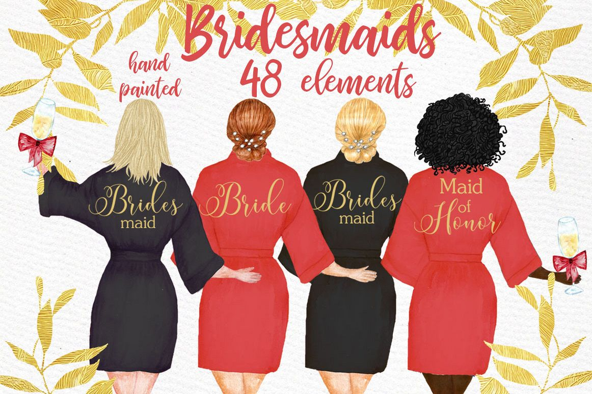 Bridesmaid clipart, WEDDING ROBES CLIPRT, Bachelorette Party example image 1