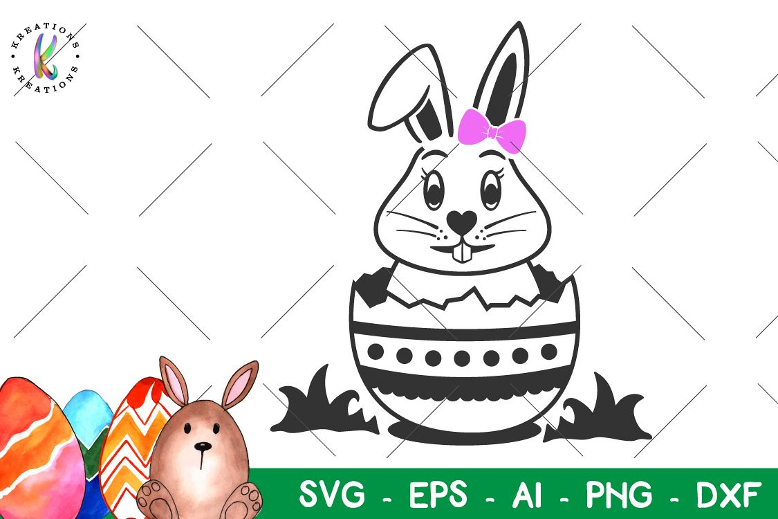 Easter svg Easter Bunny svg Cute Bow girl happy Easter example image 1