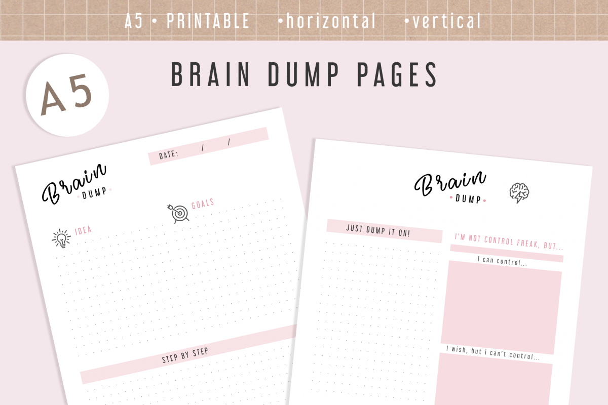 image about A5 Planner Printables called A5 Thoughts Dump Inserts Printable Planner Webpages Inserts