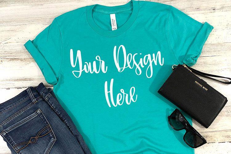 Bella 3001 Teal Shirt Mockup Photo - Flatlay Photo example image 1