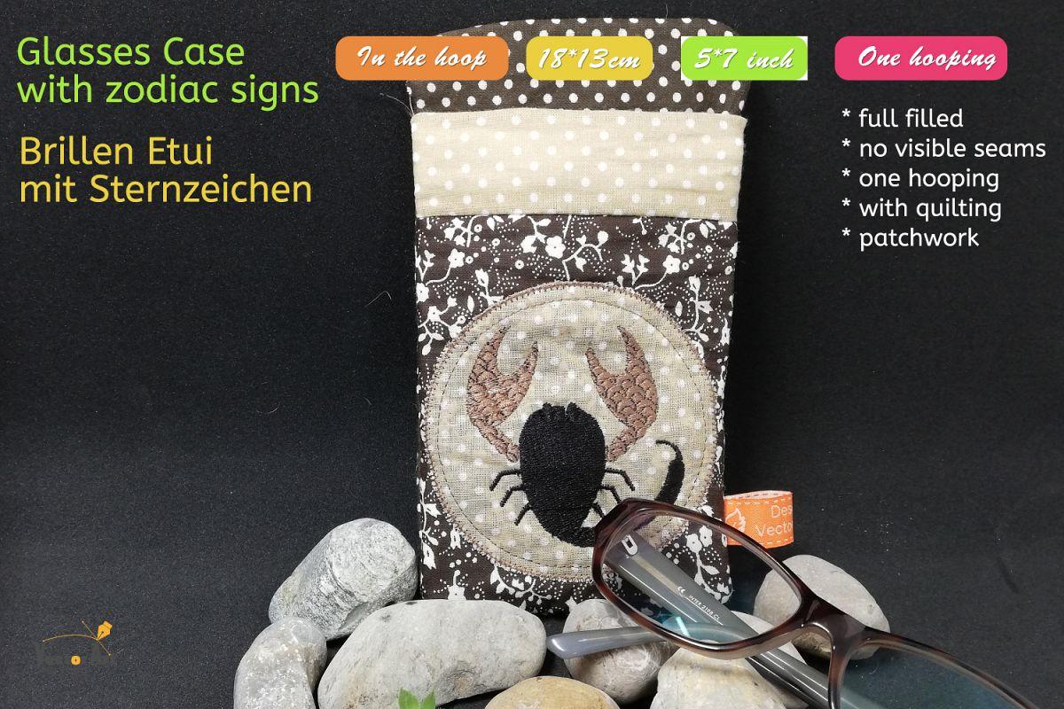 ITH - Glasses Case with Zodiac Scorpio - Embroidery file example image 1