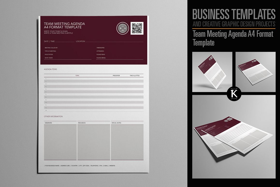 Team Meeting Agenda A4 Format Template Example Image 1