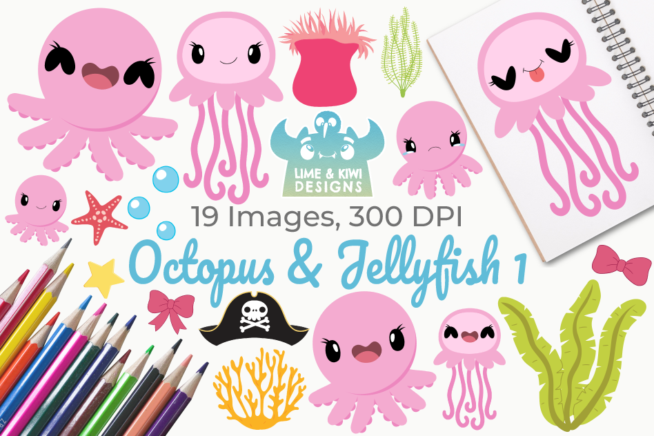 Octopus & Jellyfish 1 Clipart, Instant Download Vector Art example image 1