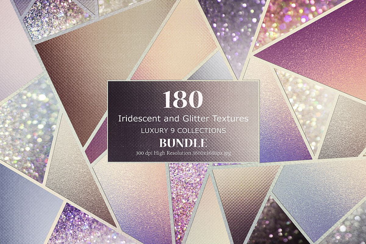 Iridescent and Glitter Foil 180 Textures BUNDLE example image 1