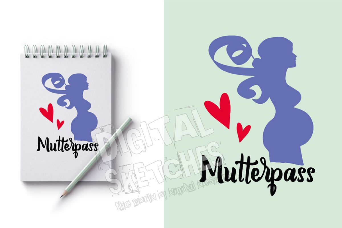 Pregnant Women German Baby heart Cut File Vector Graphics example image 1
