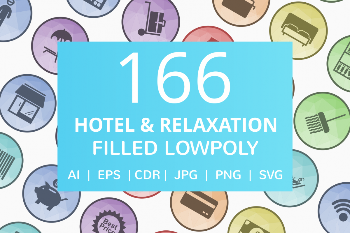 166 Hotel & Relaxation Filled Low Poly Icons example image 1