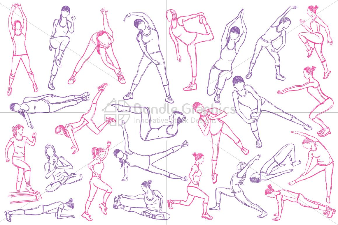Female Fitness Figures - Vector Graphic Set  example image 1