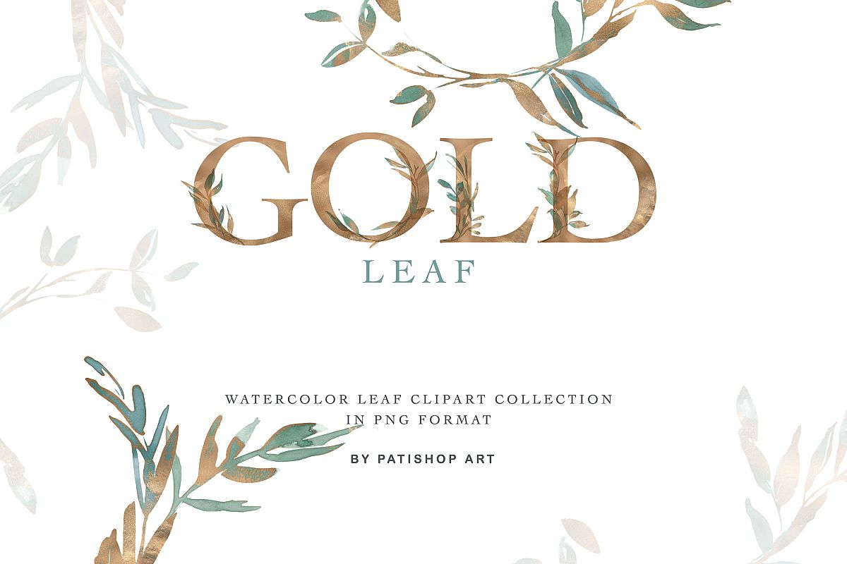 Gold Leaf Watercolor Alphabet & Leaf Clipart Collection example image 1