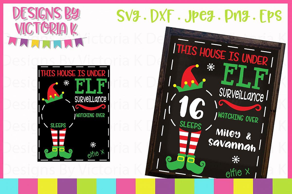 Elf Christmas Countdown Chalkboard Design SVG Cut File example image 1