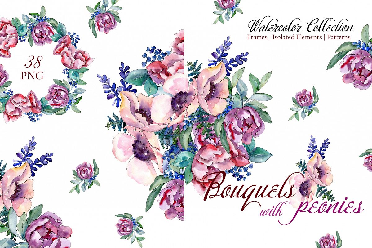 Bouquets with peonies Phuket Watercolor png example image 1