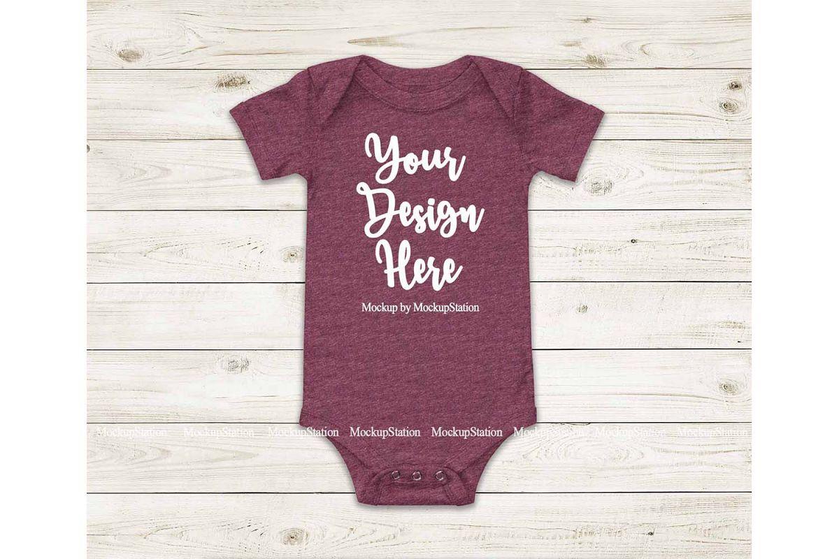 Baby Heather Maroon Bodysuit Mockup, Blank Toddler Mock Up example image 1
