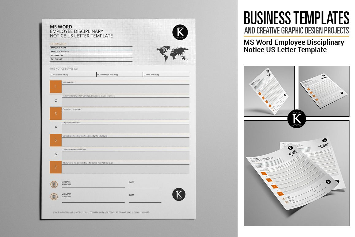 ms word employee disciplinary notice us letter template example image 1