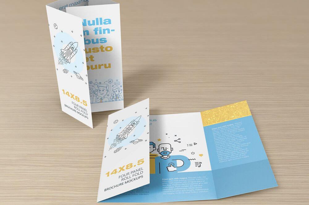 14 X 8.5 Four Panel Roll Fold Brochure Mockup example image 1