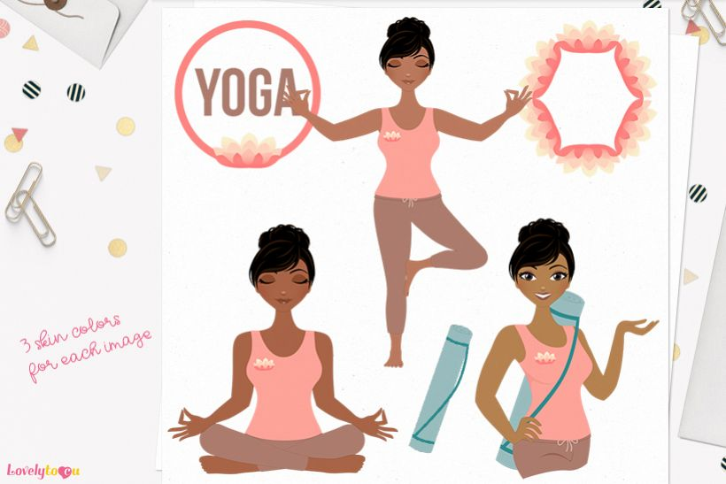 Woman yoga character clip art L140 Jewel example image 1