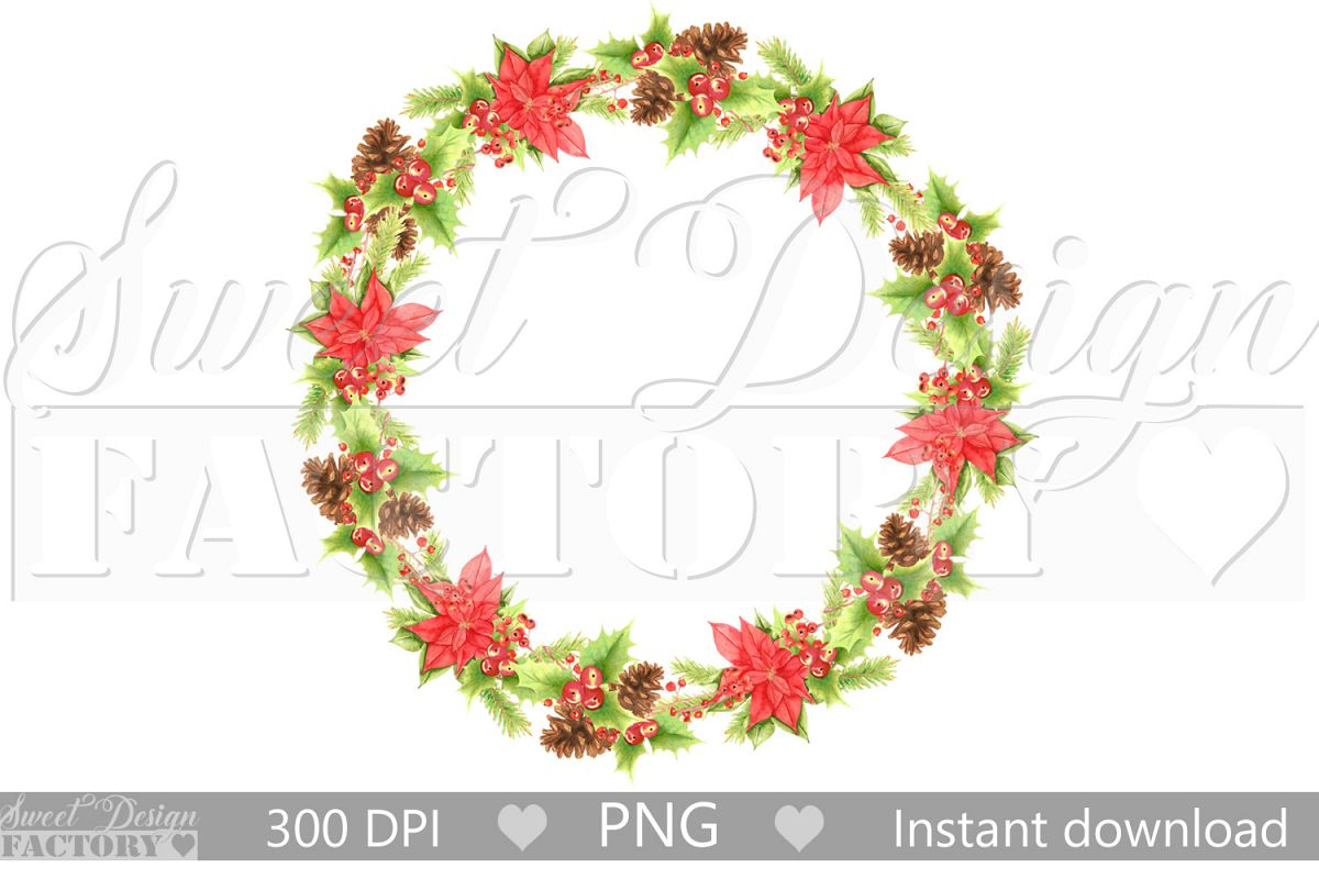 Watercolor Christmas flowers wreath clipart example image 1