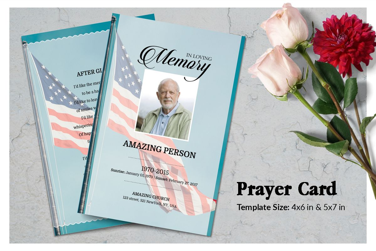 Patriotic Funeral Prayer Card Template example image 1