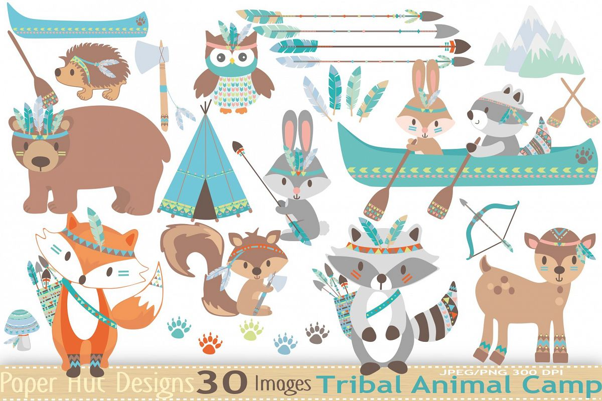 Tribal Animals Clipart example image 1