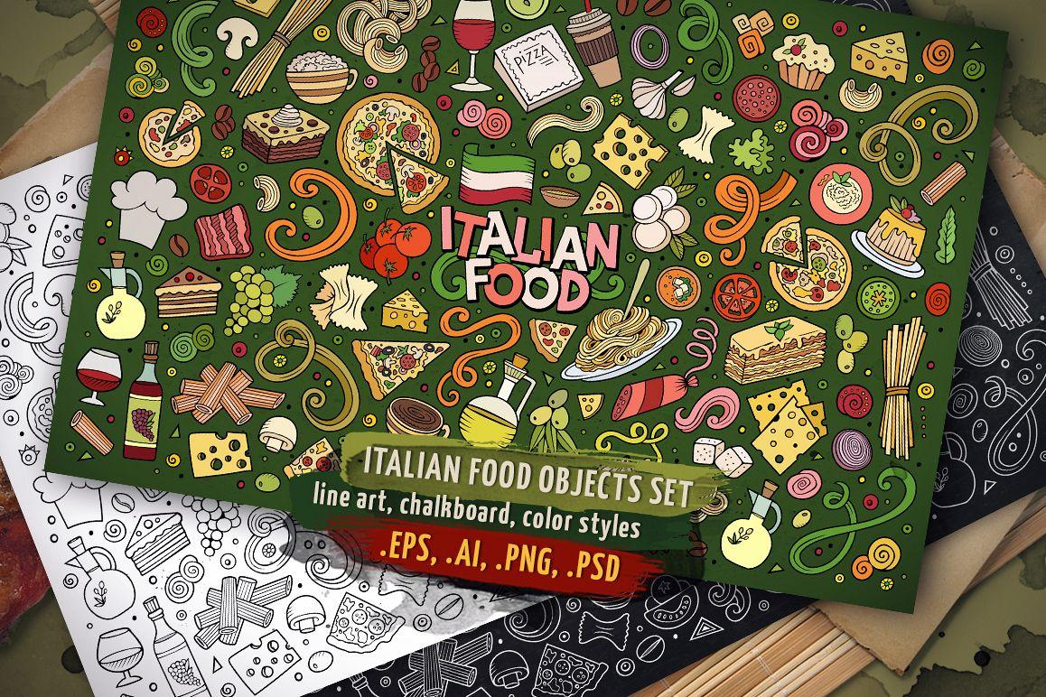 Italian Food Objects & Symbols Set example image 1