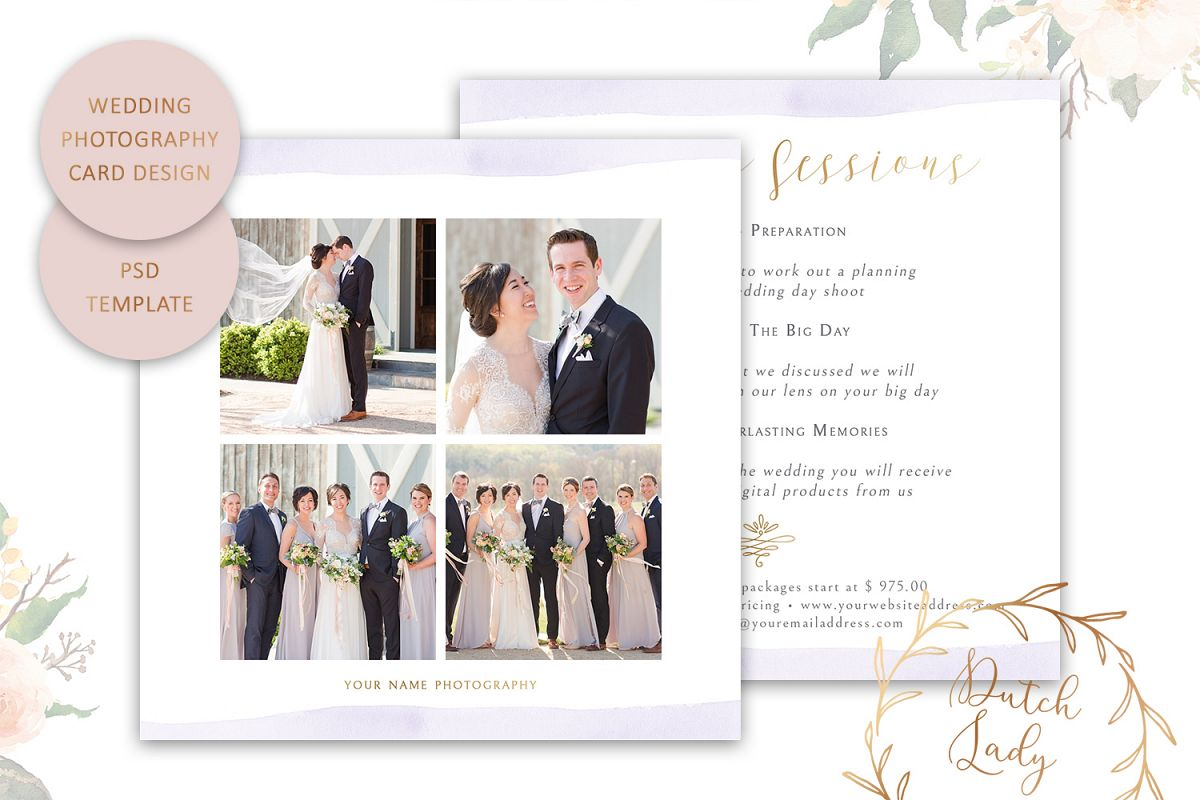 PSD Wedding Photo Session Advertising Card Template #4 example image 1
