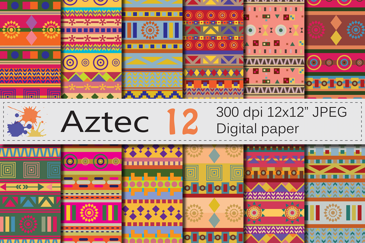Aztec Digital Paper / Bright ethnic tribal geometric papers example image 1