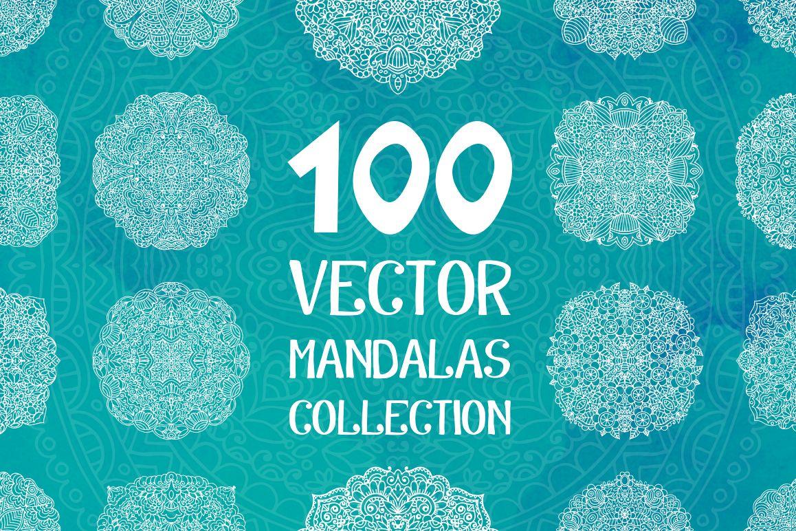 100 Vector Mandalas Round Ornaments example image 1