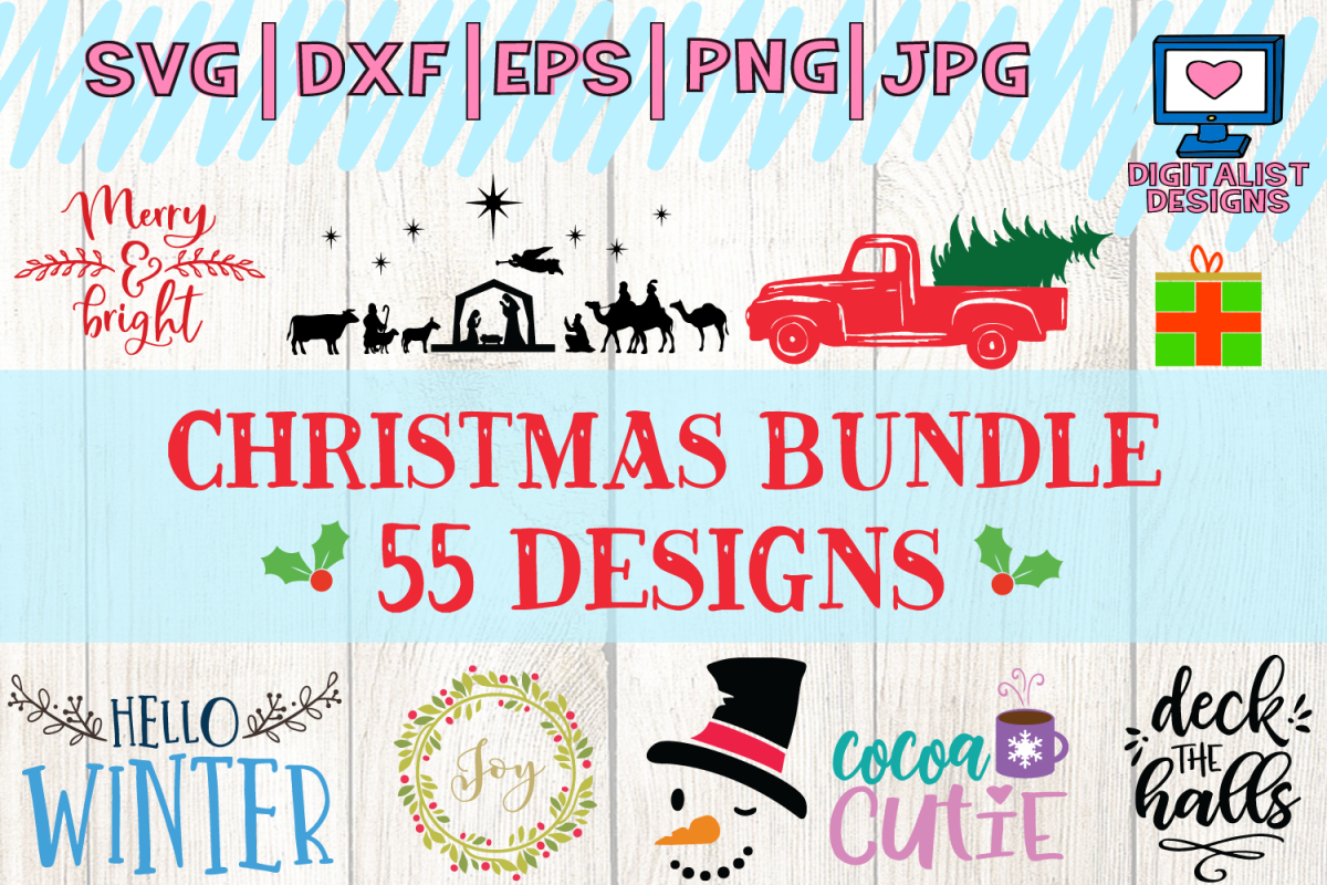 christmas bundle svg, dxf, png, jpg, eps example image 1