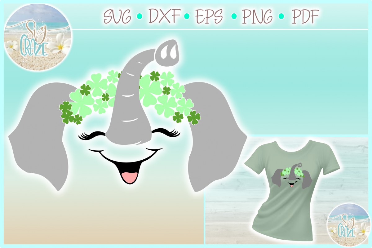 Elephant with Clovers St Patricks Day SVG Dxf Eps Png PDF example image 1