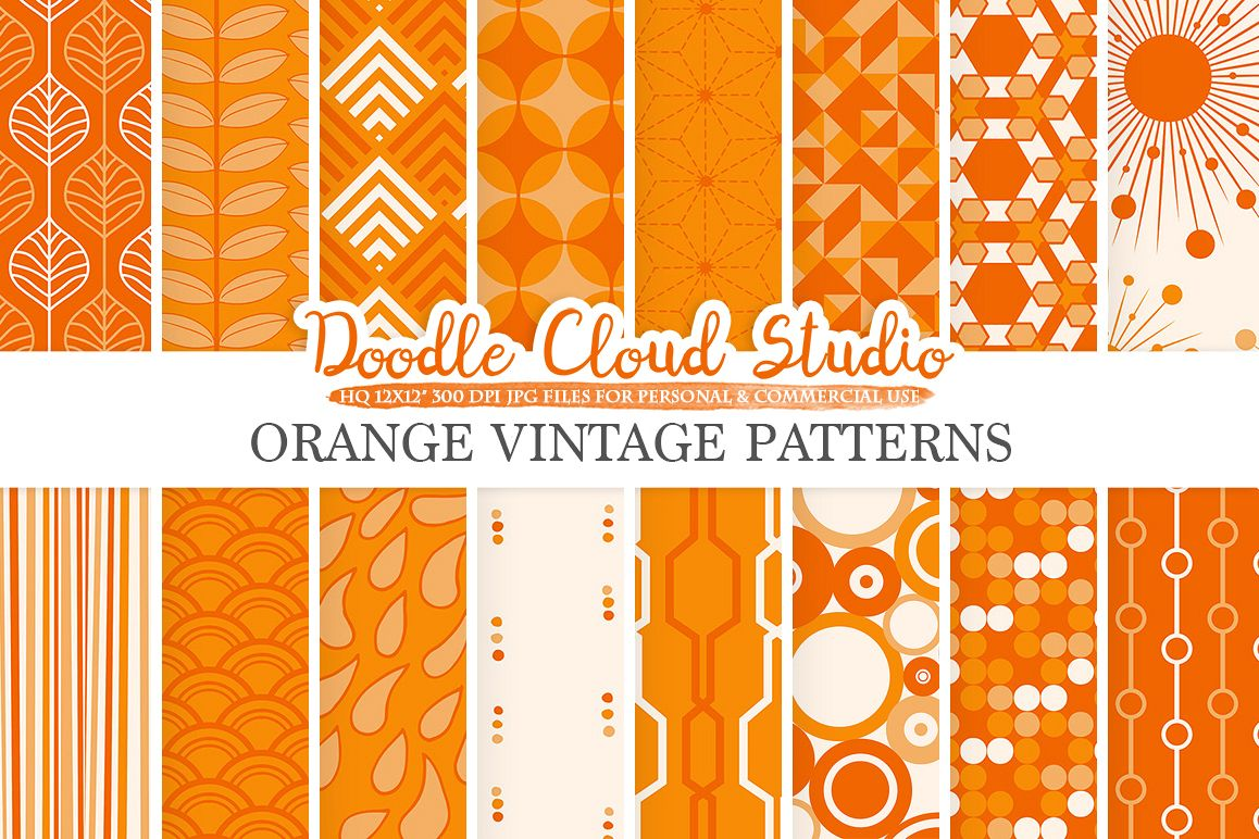 Orange Retro digital paper, Geometric Vintage patterns, Orange digital backgrounds, Instant Download, for Personal & Commercial Use example image 1
