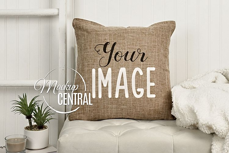 Burlap Square Living Room Chair Mockup Pillow JPG example image 1