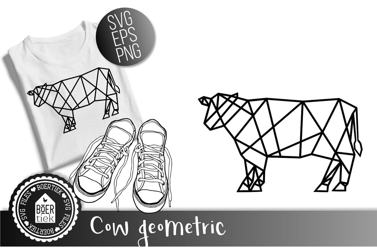 Cow geometric, SVG cutting file example image 1