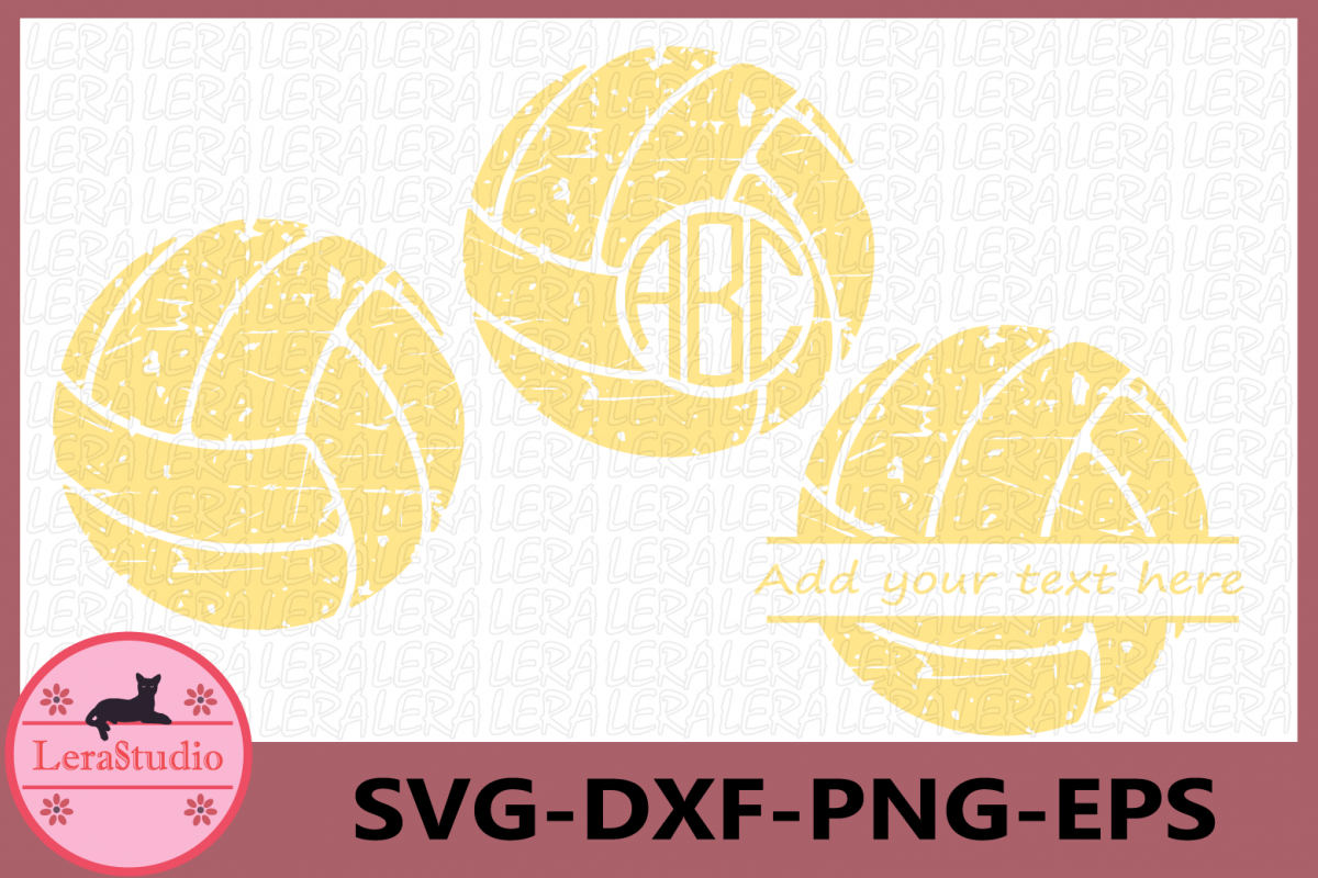 Volleyball Grunge SVG, Sport Ball Monogram, Volleyball files example image 1