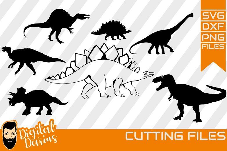 7x Dionsaur Svg , T-Rex Svg, Animals, Jurassic Silhouette example image 1
