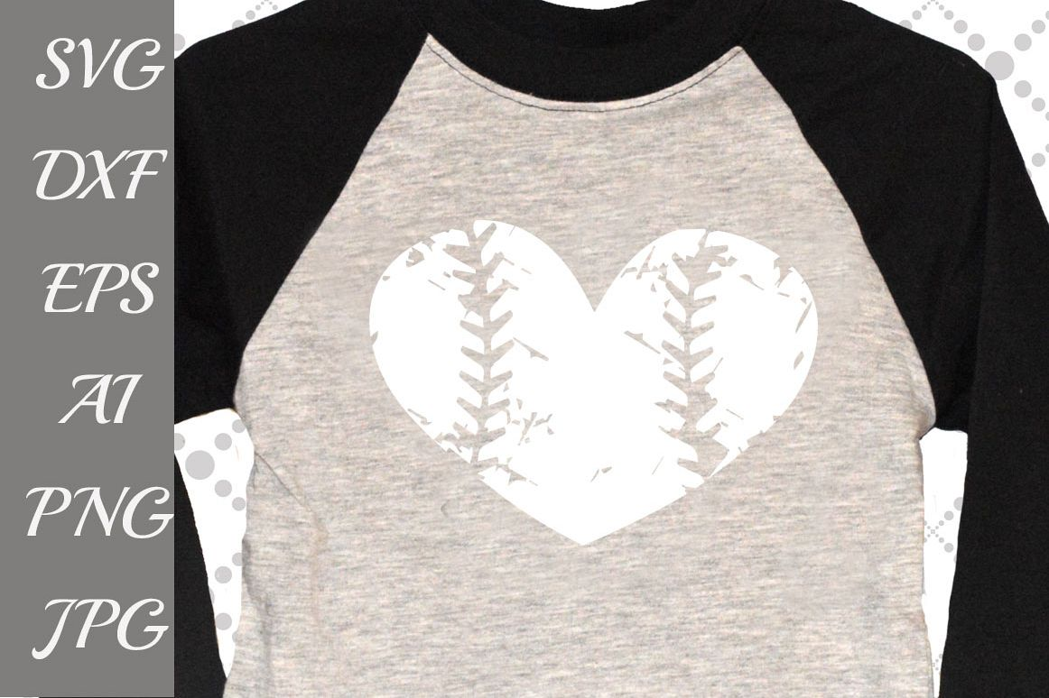 Distressed heart baseball Svg example image 1