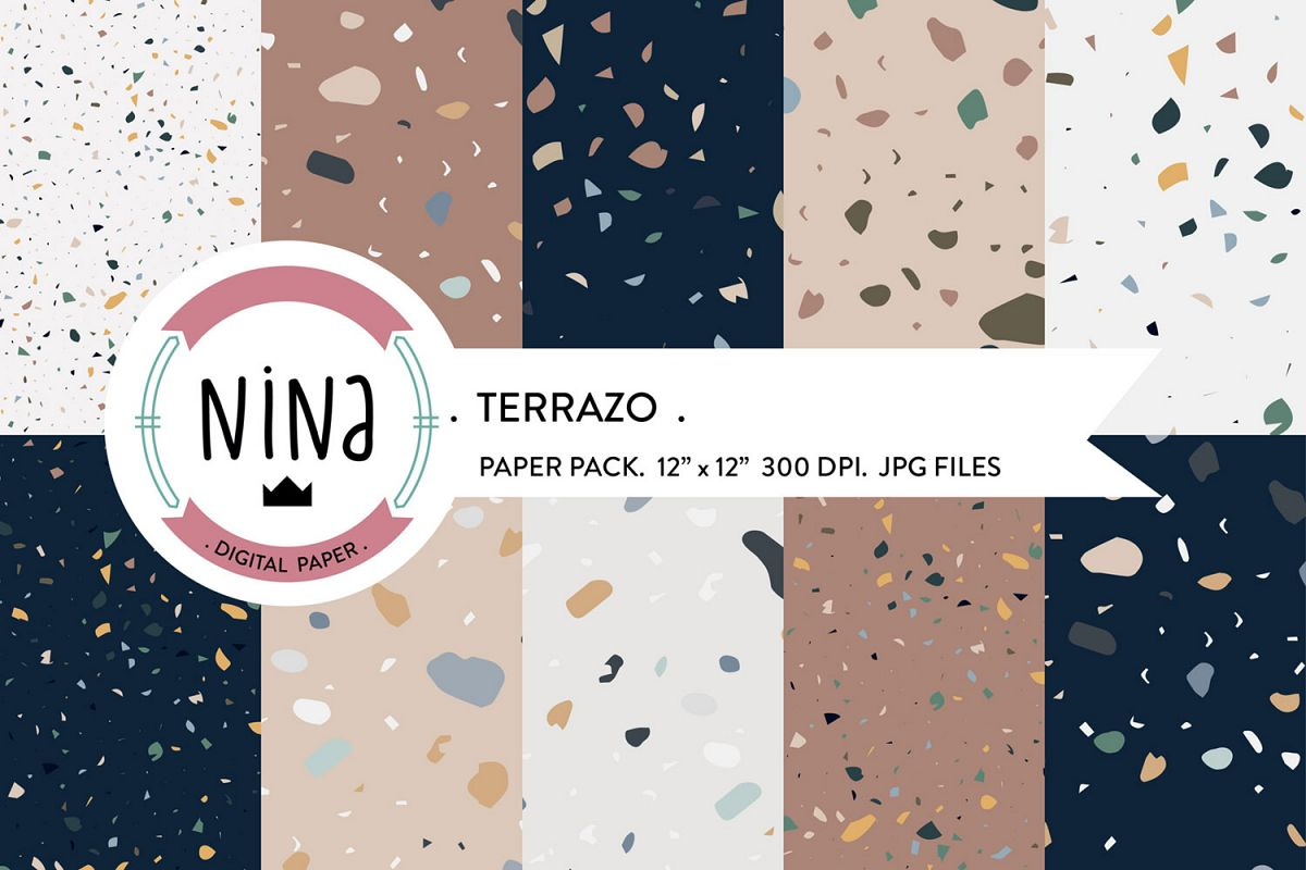 Terrazo digital paper, marble wrapping paper, terrazo paper example image 1