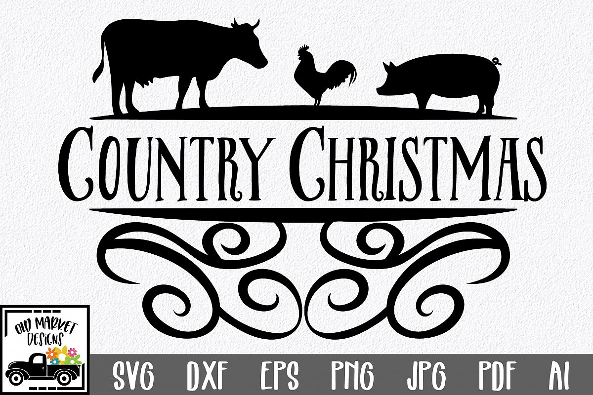 Christmas SVG Cut File - Country Christmas SVG DXF PNG EPS example image 1