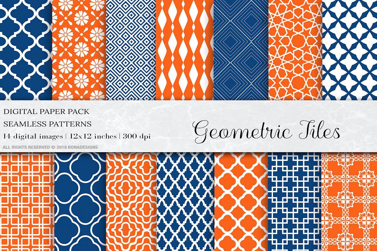 Geometric Tiles Digital Paper, Orange Blue Seamless Patter example image 1