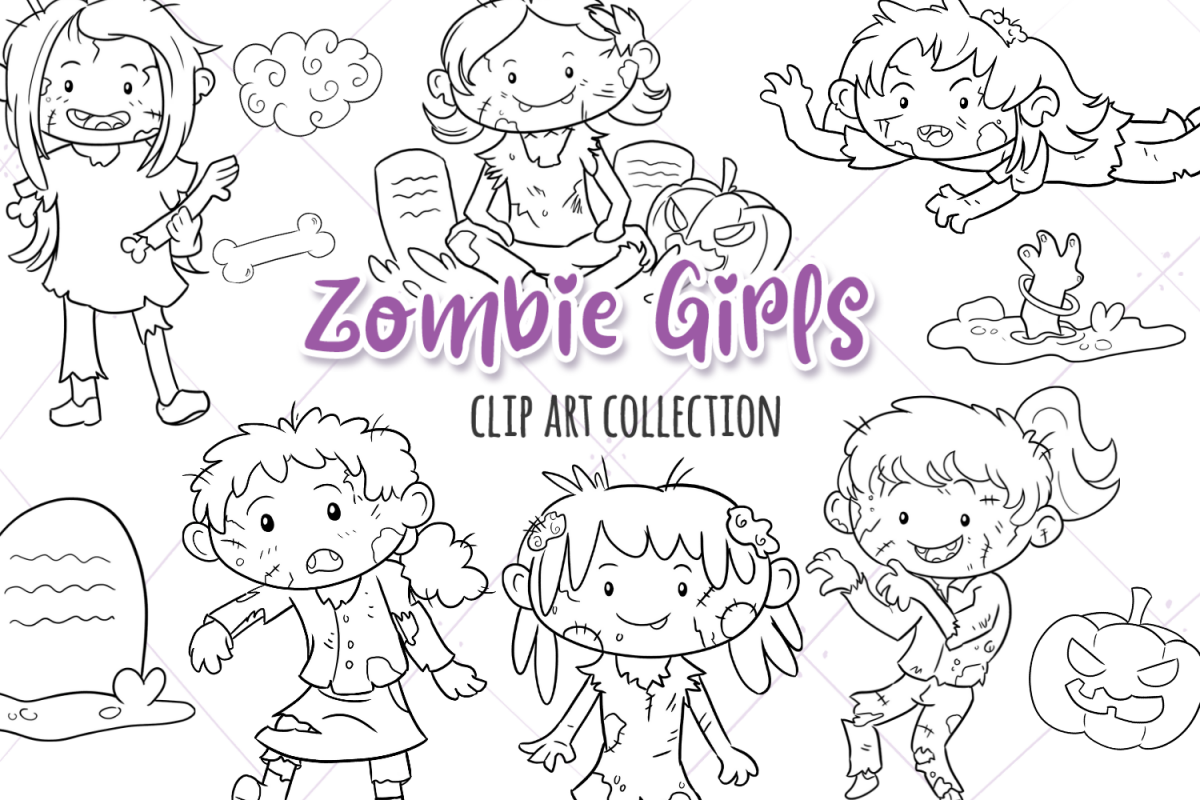 Zombie Girls Digital Stamps example image 1