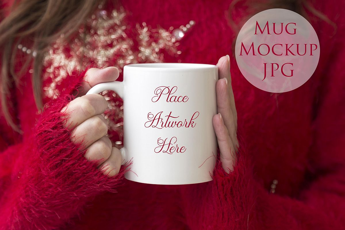 Woman holding mug in Red Christmas Sweater example image 1
