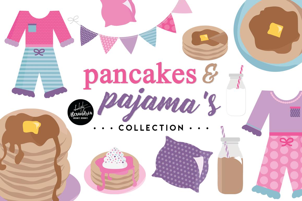 Pancakes & Pajamas Clipart Graphics & Digital Paper Patterns Bundle example image 1