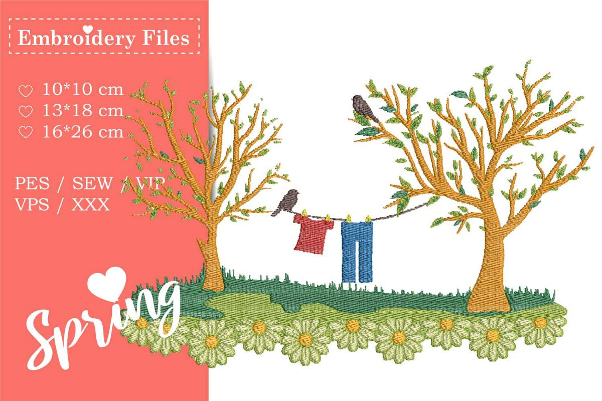 Spring Scene - Embroidery File example image 1