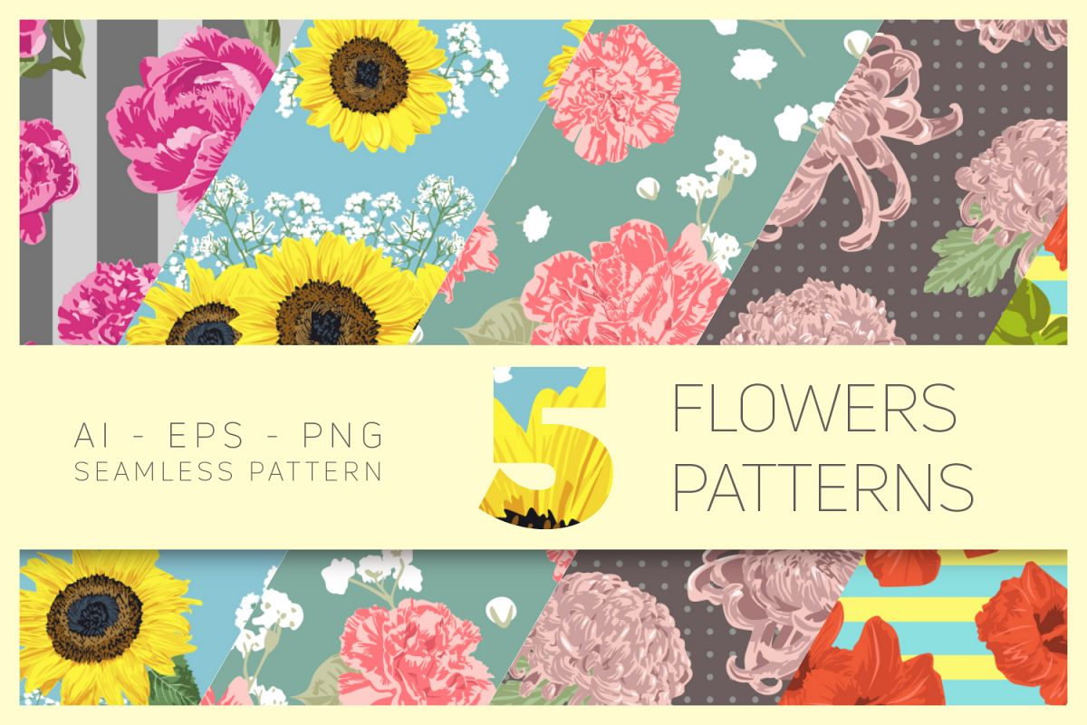 Vector Flowers Seamless Pattern Set example image 1