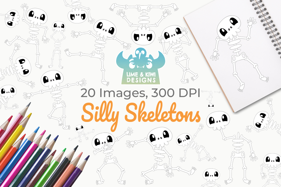 Silly Skeletons Clipart, Instant Download Vector Art example image 1