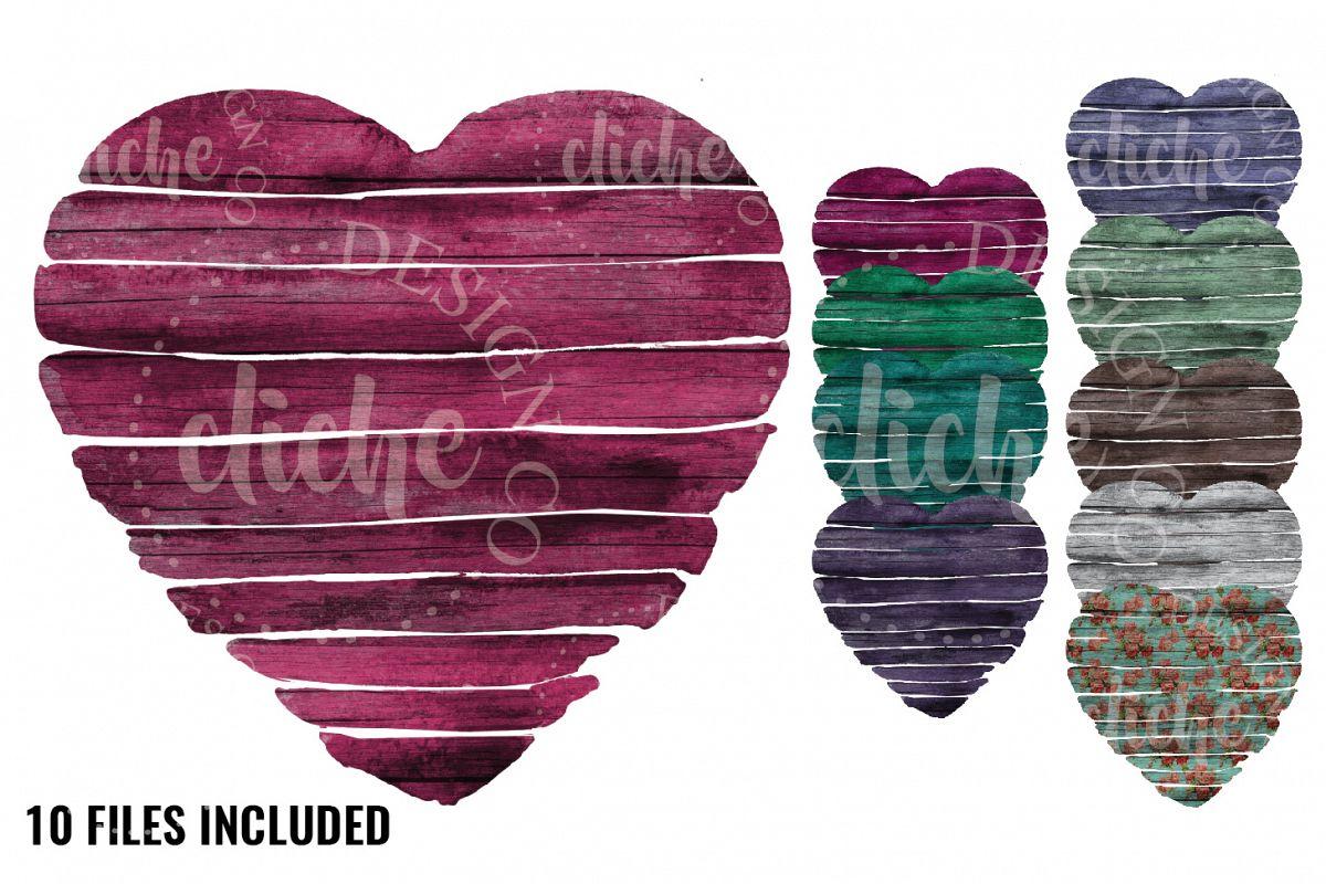 Wooden Heart Sublimation Design Set example image 1
