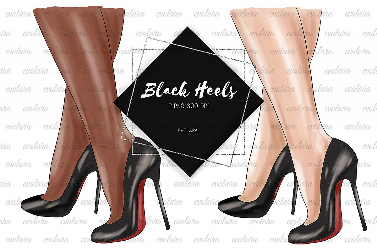 Black Stiletto Black High Heels Shoes Clipart Fashion example image 1